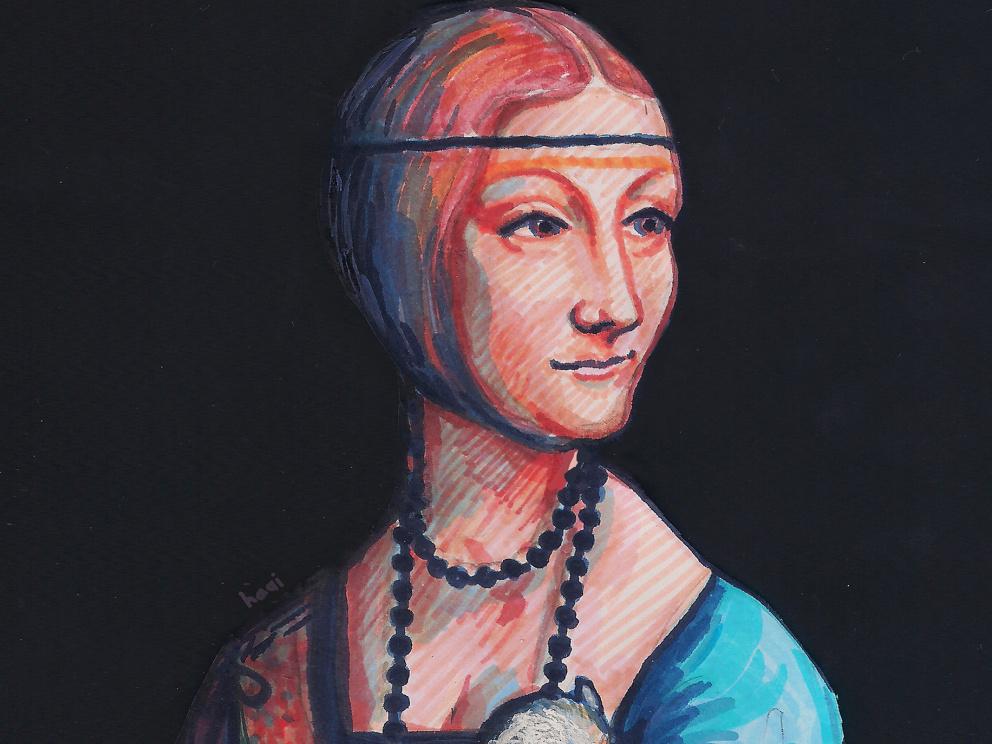 Dama z gronostajem - Ilustracja